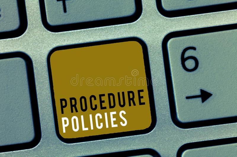 Word writing text Procedure Policies. Business concept for Steps to Guiding Principles Rules and Regulations.  stock images