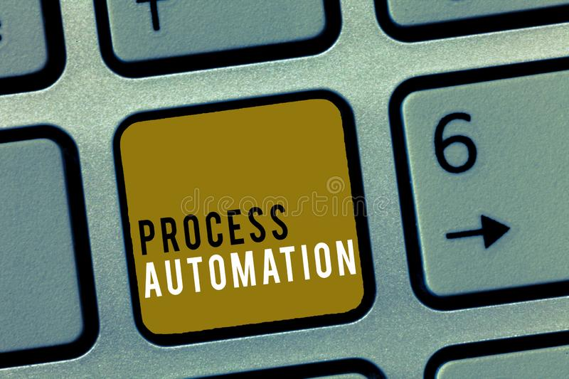 Word writing text Process Automation. Business concept for Transformation Streamlined Robotic To avoid Redundancy royalty free stock photography