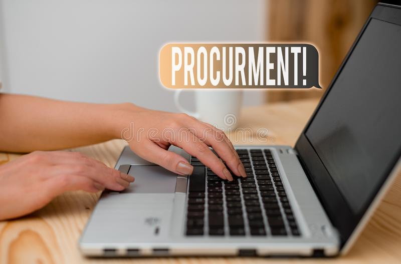 Word writing text Procurment. Business concept for action of acquiring military equipment and supplies woman laptop. Word writing text Procurment. Business photo royalty free stock photo