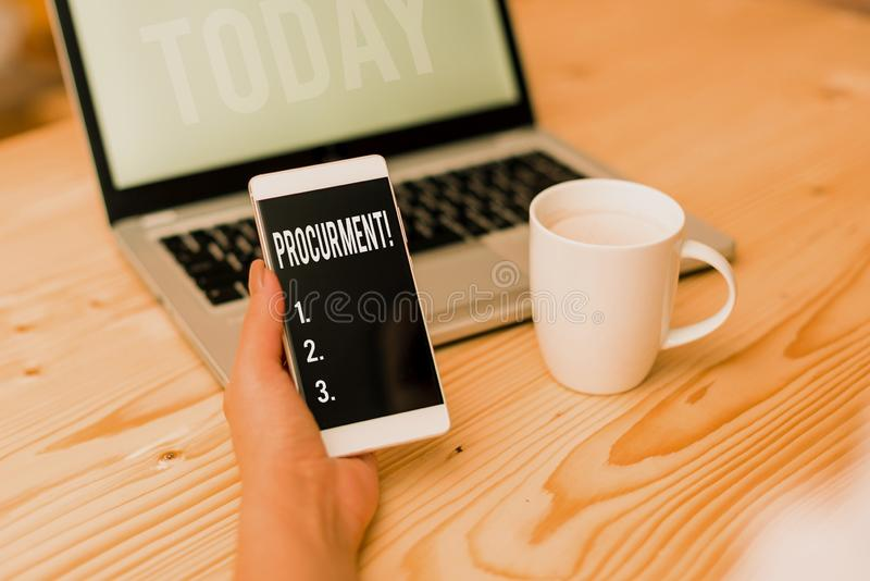 Word writing text Procurment. Business concept for action of acquiring military equipment and supplies woman laptop. Word writing text Procurment. Business photo royalty free stock image