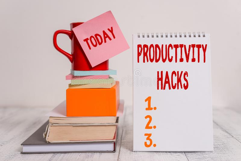 Word writing text Productivity Hacks. Business concept for tricks that you get more done in the same amount of time Cup. Word writing text Productivity Hacks stock images