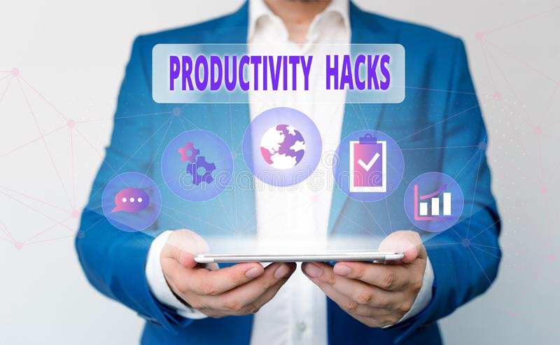 Word writing text Productivity Hacks. Business concept for tricks that you get more done in the same amount of time Male. Word writing text Productivity Hacks stock photo