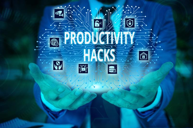 Word writing text Productivity Hacks. Business concept for tricks that you get more done in the same amount of time Male. Word writing text Productivity Hacks royalty free stock images