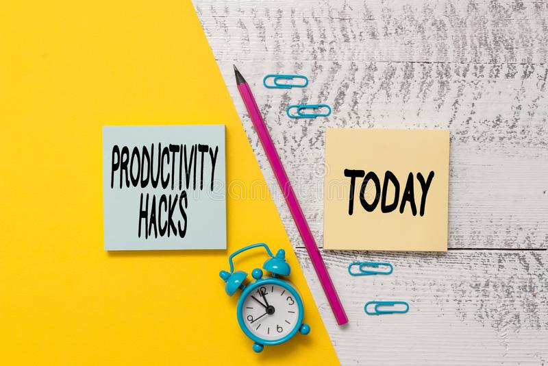 Word writing text Productivity Hacks. Business concept for tricks that you get more done in the same amount of time. Word writing text Productivity Hacks royalty free stock image