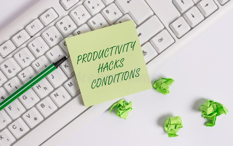 Word writing text Productivity Hacks. Business concept for tricks that you get more done in the same amount of time. Word writing text Productivity Hacks royalty free stock photography