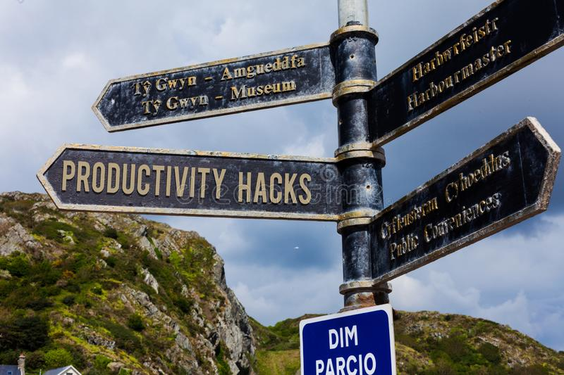Word writing text Productivity Hacks. Business concept for tricks that you get more done in the same amount of time Road. Word writing text Productivity Hacks stock image