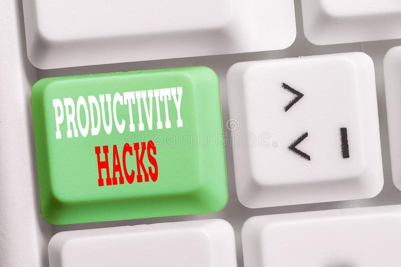 Word writing text Productivity Hacks. Business concept for tricks that you get more done in the same amount of time. Word writing text Productivity Hacks royalty free stock photos