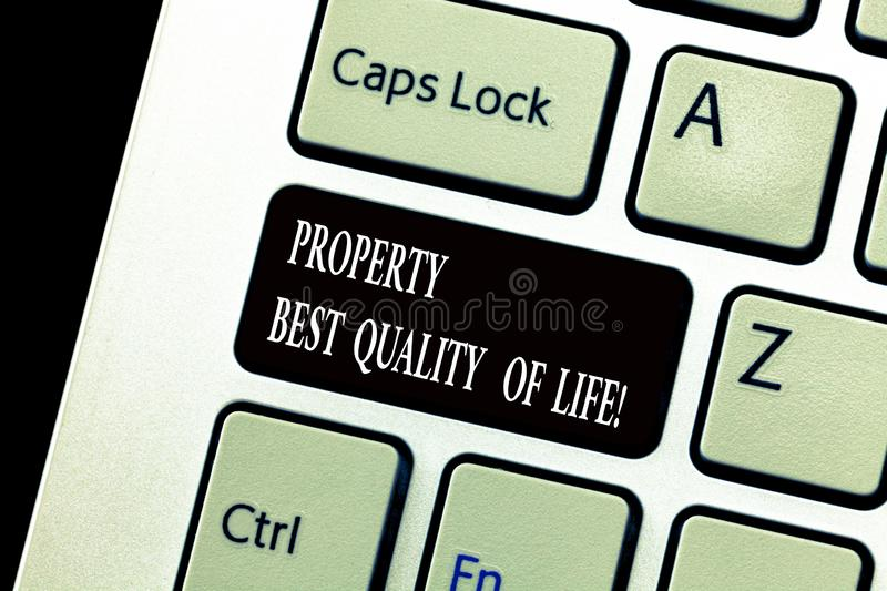 Word writing text Property Best Quality Of Life. Business concept for Purchasing your own house apartment space Keyboard stock images