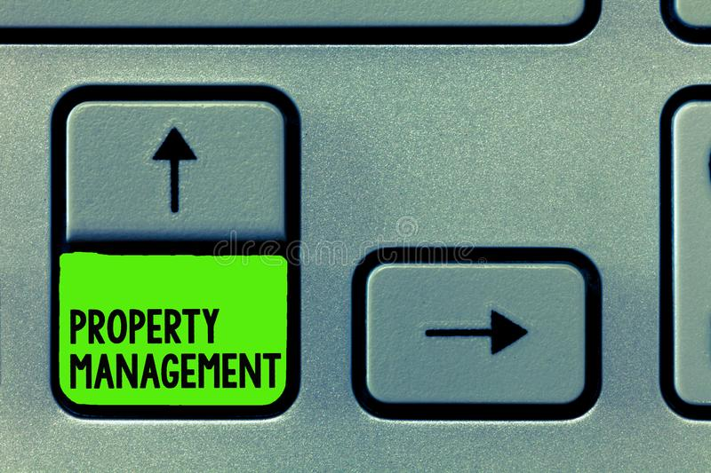 Word writing text Property Management. Business concept for Overseeing of Real Estate Preserved value of Facility royalty free stock images
