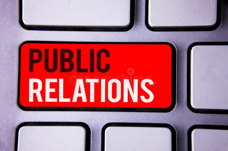 Word writing text Public Relations. Business concept for Communication Media People Information Publicity Social White Text two wo. Rds red tab key button press stock photos