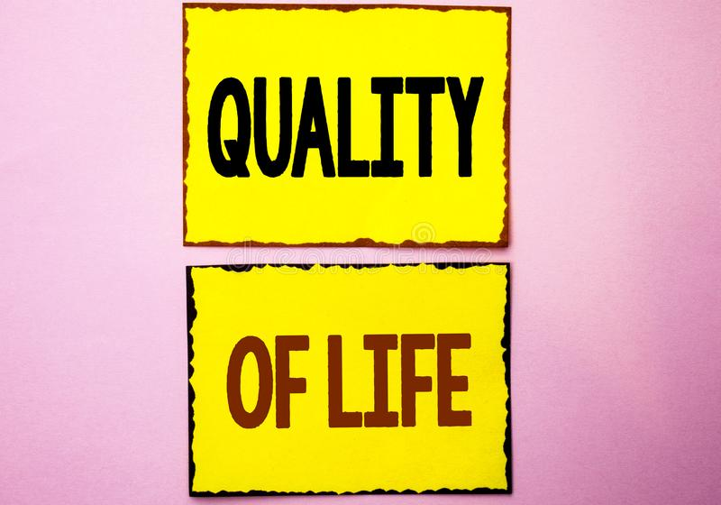 Word writing text Quality Of Life. Business concept for Good Lifestyle Happiness Enjoyable Moments Well-being written on Yellow St. Word writing text Quality Of stock images
