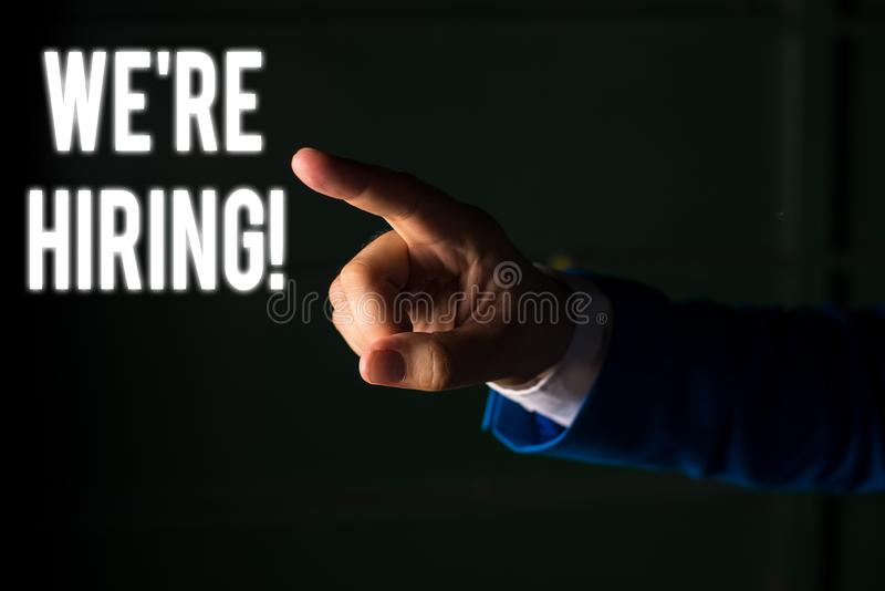 Word writing text We Re Hiring. Business concept for recently employ someone or pay someone to do particular job. Word writing text We Re Hiring. Business photo royalty free stock images