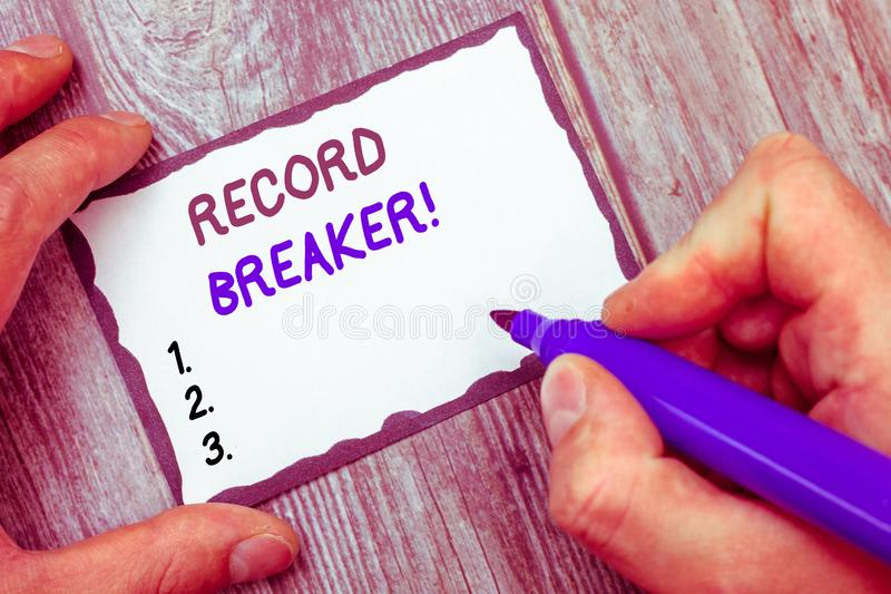 Word writing text Record Breaker. Business concept for someone or something that beats previous best result stock photography