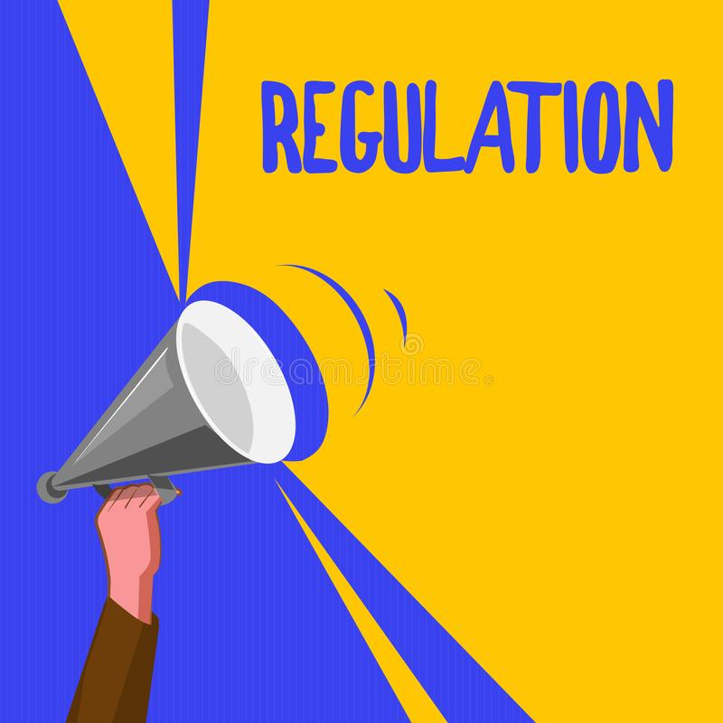 Word writing text Regulation. Business concept for Rule law or directive made and maintained by an authority.  stock illustration
