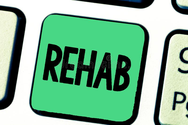 Word writing text Rehab. Business concept for course treatment for drug alcohol dependence typically at residential.  royalty free stock photos