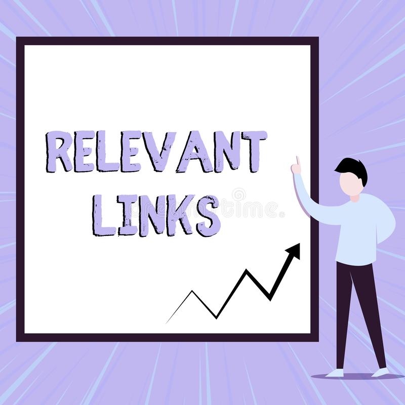 Word writing text Relevant Links. Business concept for Significant sites for a particular topic Associated View young. Word writing text Relevant Links. Business royalty free illustration