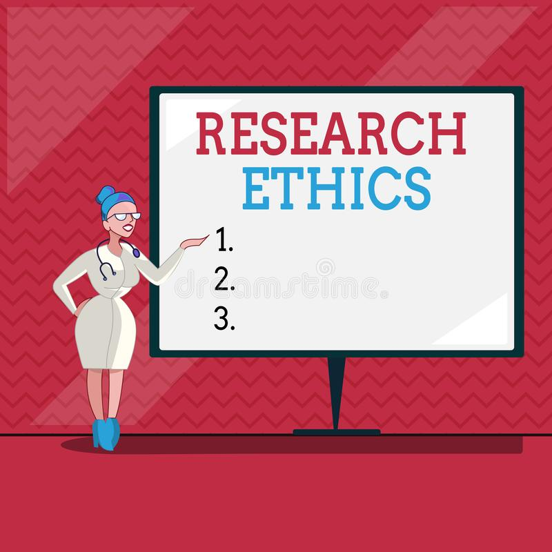 Word writing text Research Ethics. Business concept for interested in the analysis of ethical issues that raised.  royalty free illustration