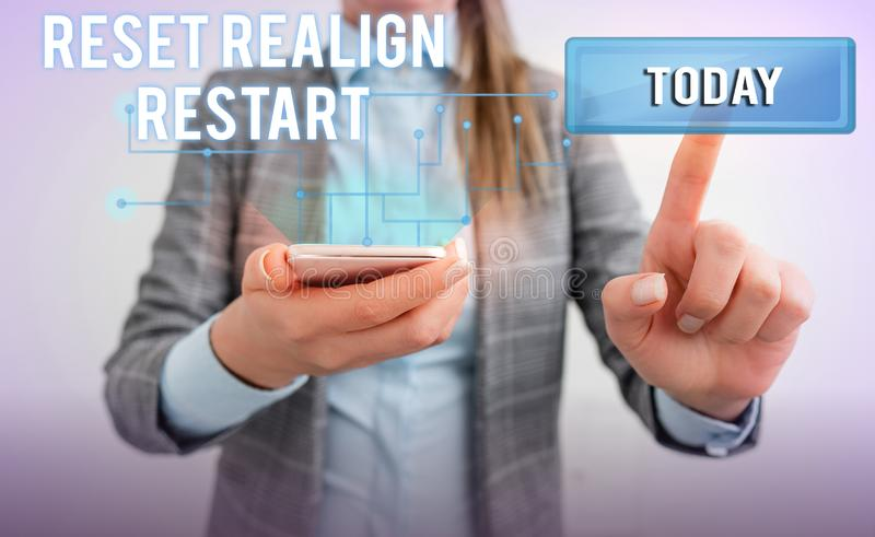 Word writing text Reset Realign Restart. Business concept for Life audit will help you put things in perspectives Lady. Word writing text Reset Realign Restart royalty free stock photos