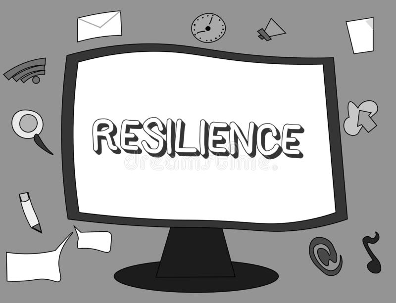 Word writing text Resilience. Business concept for Capacity to recover quickly from difficulties Persistence.  royalty free illustration