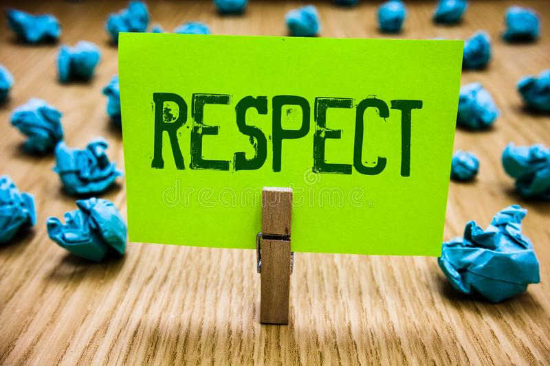 Word writing text Respect. Business concept for Feeling of deep admiration for someone or something Appreciation Paper cyan object. Thoughts crumpled papers stock photos
