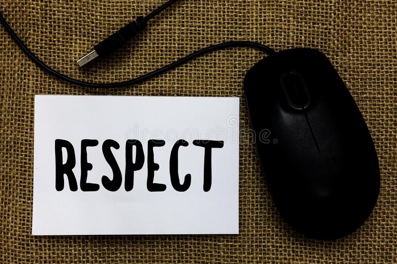 Word writing text Respect. Business concept for Feeling of deep admiration for someone or something Appreciation USB cable mouse a. Rt paper mat thoughts ideas stock images
