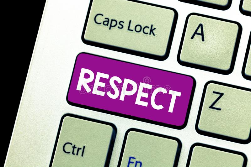 Word writing text Respect. Business concept for Feeling of deep admiration for someone or something Appreciation.  royalty free stock photos