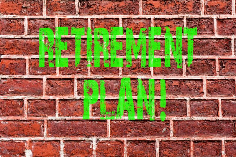 Word writing text Retirement Plan. Business concept for Savings Investments that provide incomes for retired workers Brick Wall. Art like Graffiti motivational royalty free stock image