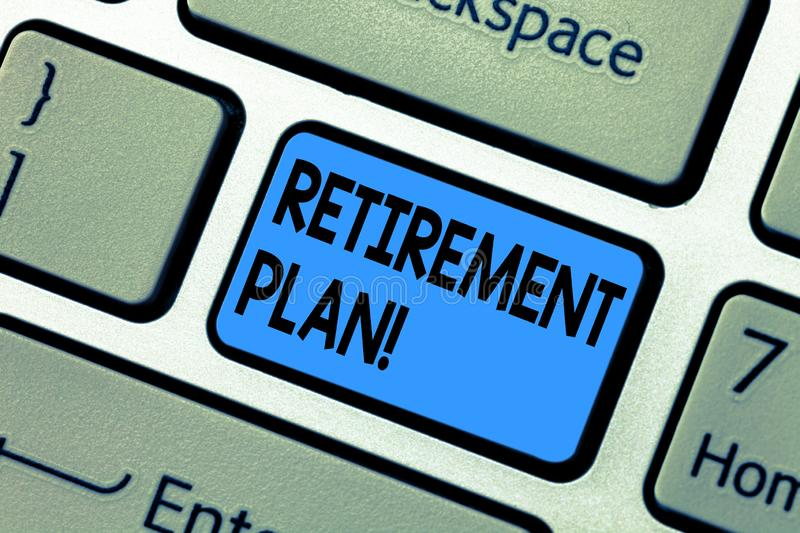 Word writing text Retirement Plan. Business concept for Savings Investments that provide incomes for retired workers. Keyboard key Intention to create computer stock images