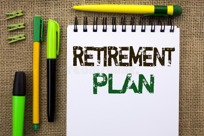 Word writing text Retirement Plan. Business concept for Savings Investments that provide incomes for retired workers written on No. Word writing text Retirement stock photo