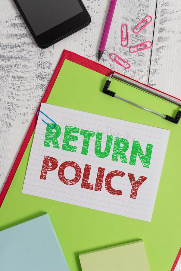 Word writing text Return Policy. Business concept for Tax Reimbursement Retail Terms and Conditions on Purchase. Word writing text Return Policy. Business photo royalty free stock photos