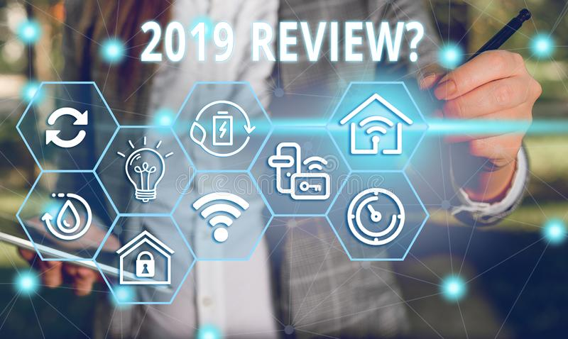 Word writing text 2019 Review Question. Business concept for remembering past year events main actions or good shows. Word writing text 2019 Review Question royalty free stock photography