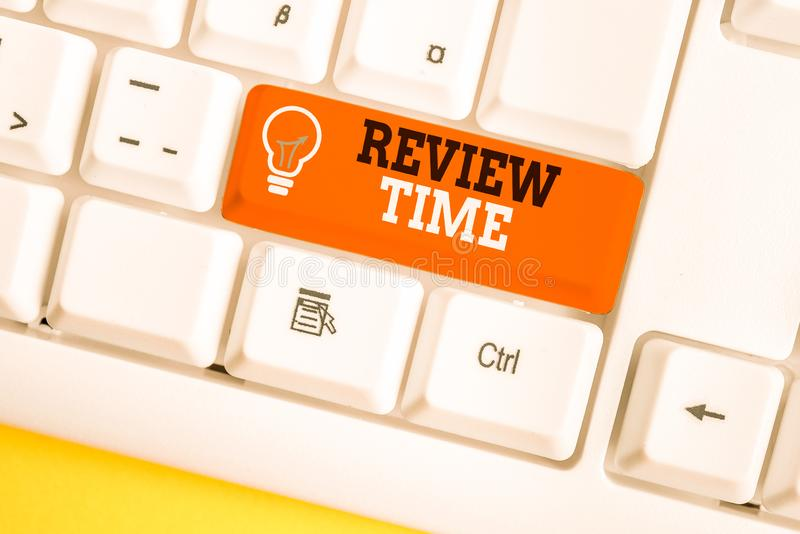 Word writing text Review Time. Business concept for to think or talk about something again Set schedule to review White. Word writing text Review Time. Business royalty free stock images