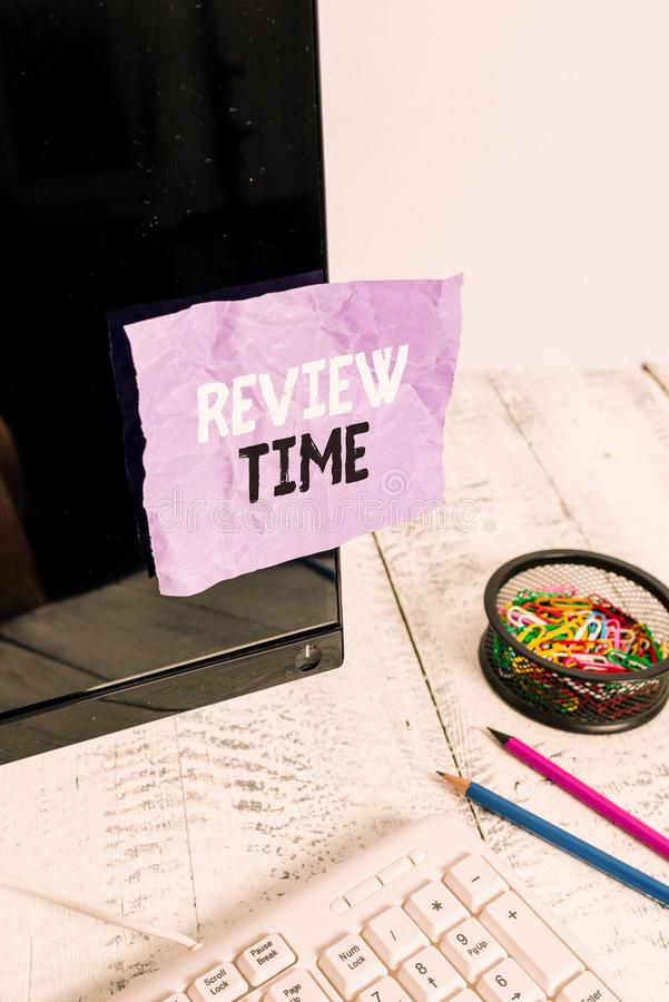 Word writing text Review Time. Business concept for to think or talk about something again Set schedule to review Note. Word writing text Review Time. Business stock image