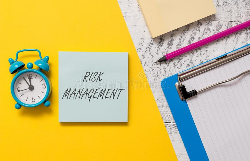 Word writing text Risk Management. Business concept for evaluation of financial hazards or problems with procedures. Word writing text Risk Management. Business stock photo