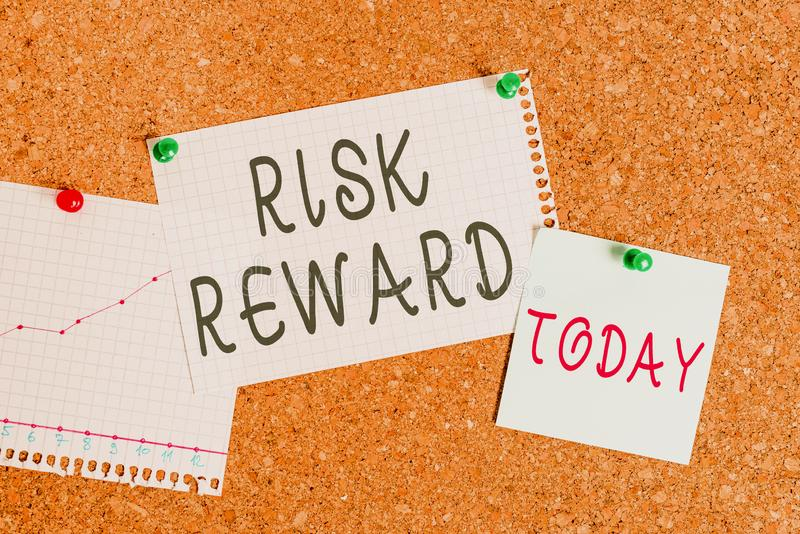 Word writing text Risk Reward. Business concept for assess the profit potential of a trade relative to its loss stock images