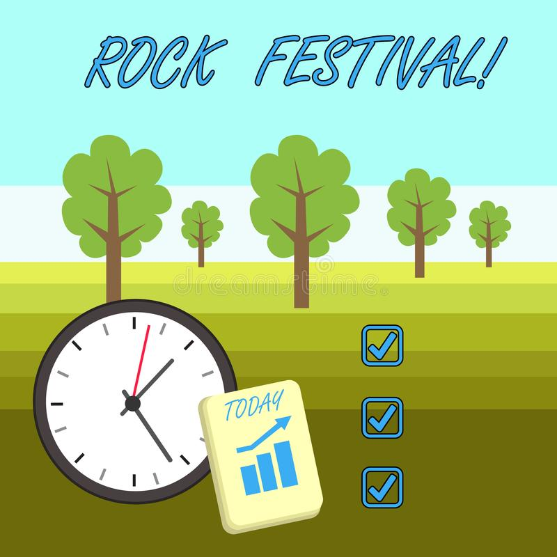 Word writing text Rock Festival. Business concept for Largescale rock music concert featuring heavy metals genre Layout. Word writing text Rock Festival vector illustration