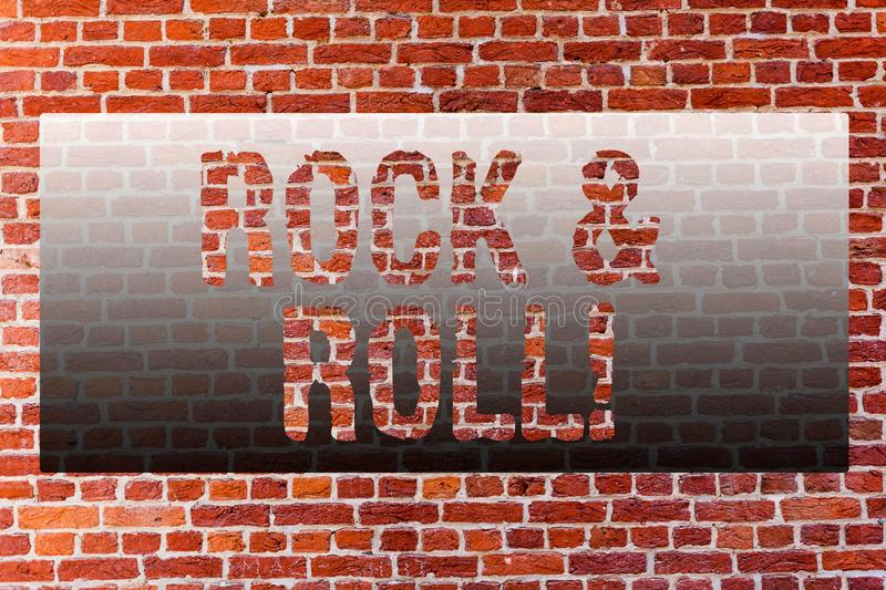 Word writing text Rock And Roll. Business concept for Musical Genre Type of popular dance music Heavy Beat Sound Brick stock image