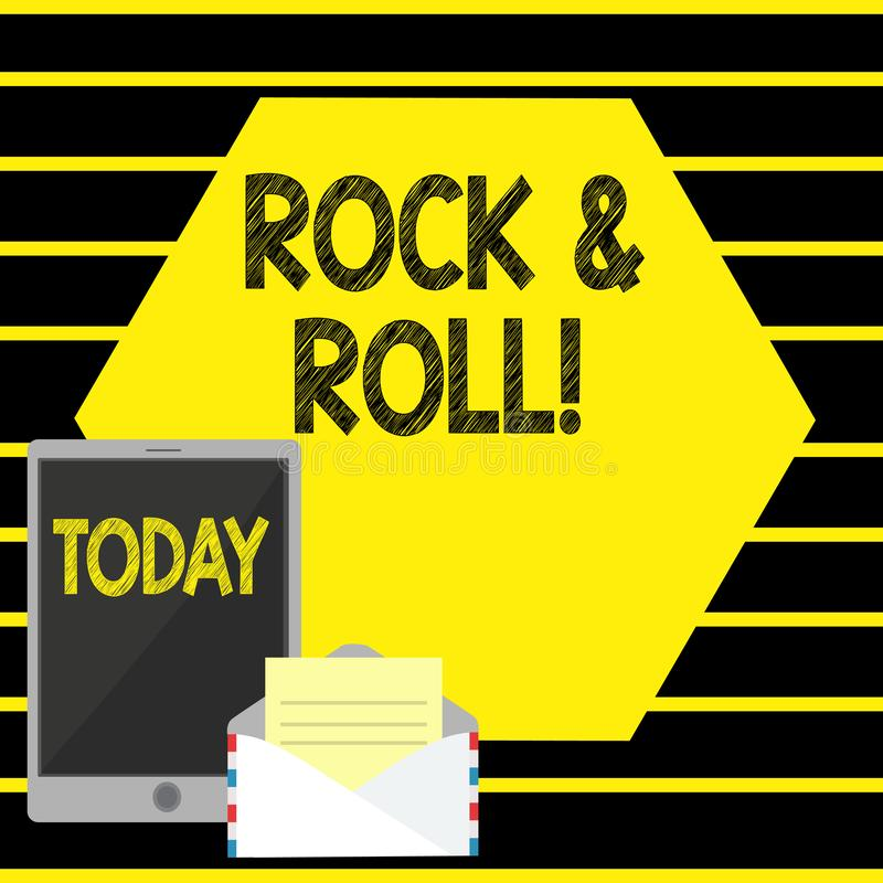 Word writing text Rock And Roll. Business concept for Musical Genre Type of popular dance music Heavy Beat Sound. Word writing text Rock And Roll. Business vector illustration