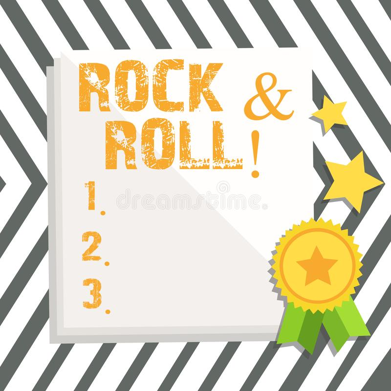 Word writing text Rock And Roll. Business concept for Musical Genre Type of popular dance music Heavy Beat Sound. Word writing text Rock And Roll. Business photo vector illustration