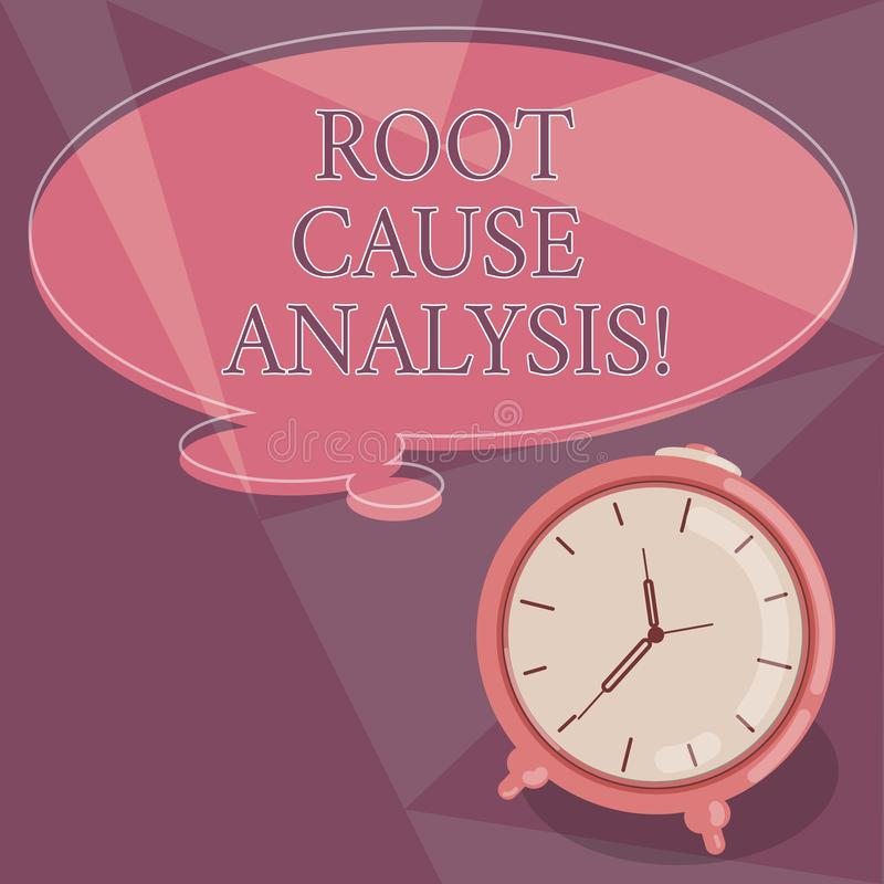 Word writing text Root Cause Analysis. Business concept for method of problem solving used for identifying causes Blank. Color Thought Speech Bubble with stock illustration