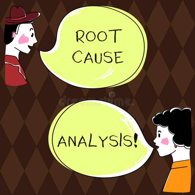 Word writing text Root Cause Analysis. Business concept for method of problem solving used for identifying causes Hand. Drawn Man and Wo analysis Talking photo vector illustration