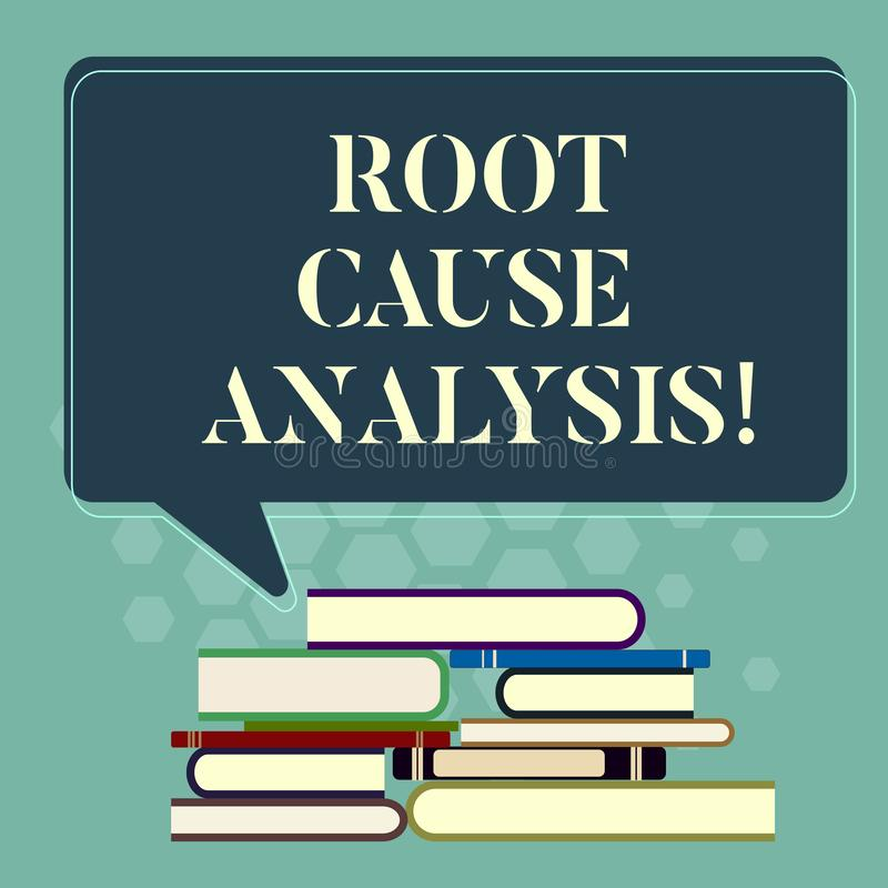Word writing text Root Cause Analysis. Business concept for method of problem solving used for identifying causes Uneven. Pile of Hardbound Books and Blank royalty free illustration