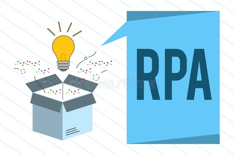 Word writing text Rpa. Business concept for The use of software with artificial intelligence to do basic task.  royalty free illustration