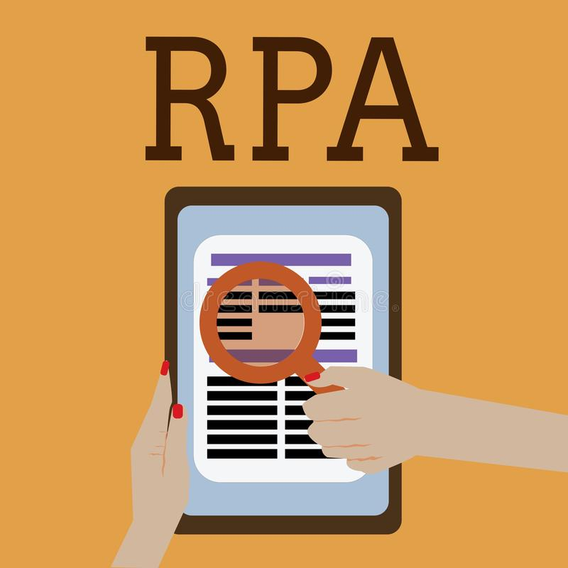 Word writing text Rpa. Business concept for The use of software with artificial intelligence to do basic task.  vector illustration