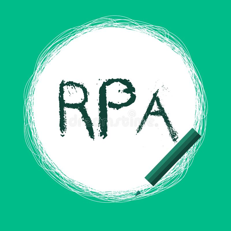 Word writing text Rpa. Business concept for The use of software with artificial intelligence to do basic task.  stock illustration
