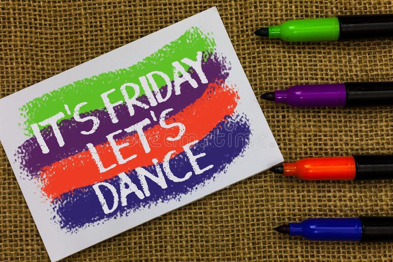 Word writing text It s is Friday Let s is Dance. Business concept for Celebrate starting the weekend Go party Disco Music Colorful stock images