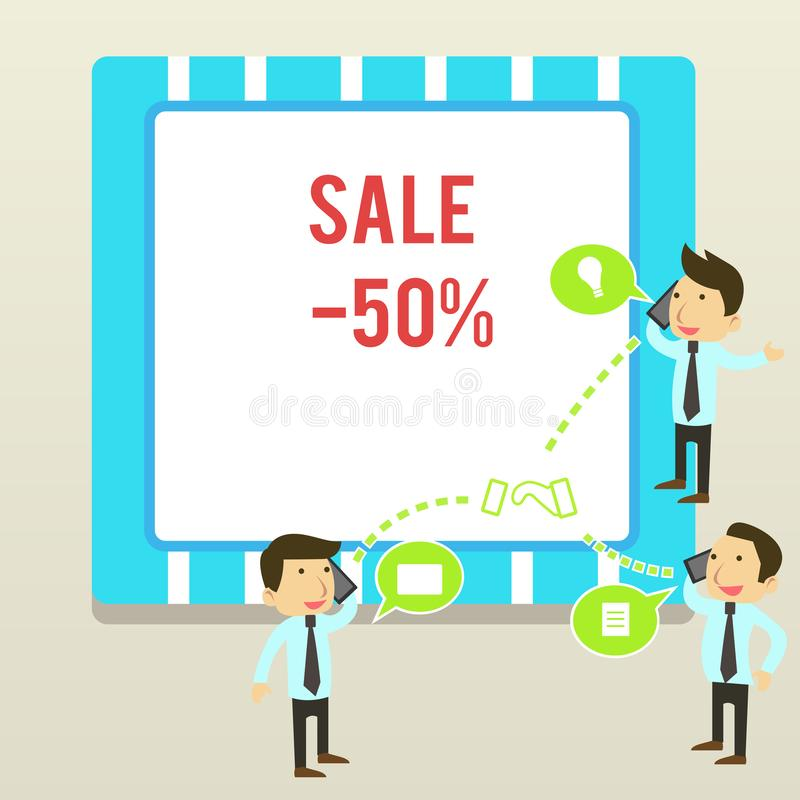 Word writing text Sale 50 Percent. Business concept for A promo price of an item at 50 percent markdown Businessmen. Word writing text Sale 50 Percent. Business stock illustration