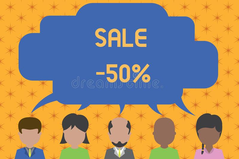Word writing text Sale 50 Percent. Business concept for A promo price of an item at 50 percent markdown Five different. Word writing text Sale 50 Percent stock illustration