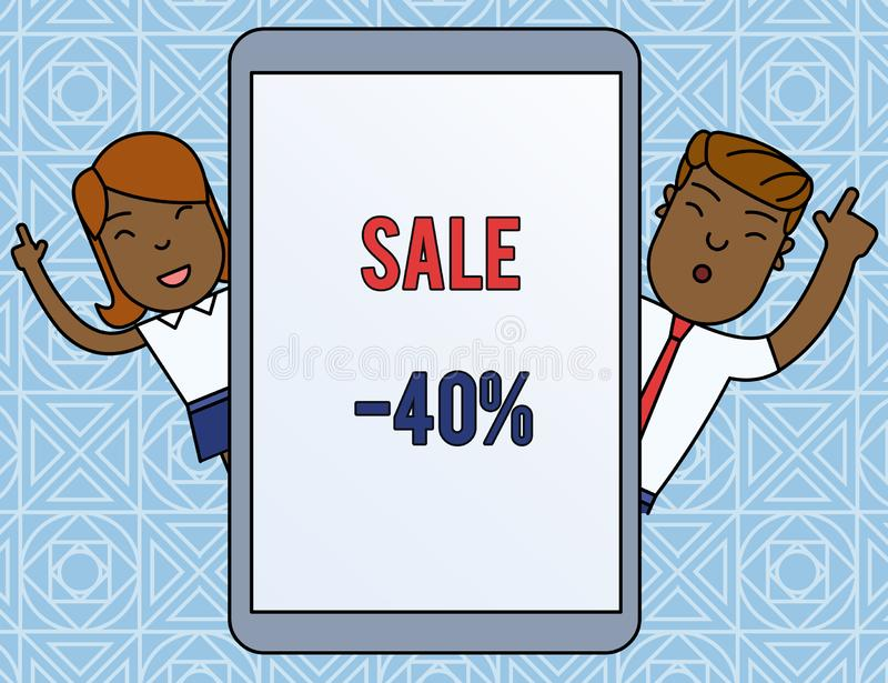 Word writing text Sale 40 Percent. Business concept for A promo price of an item at 40 percent markdown Male and Female. Word writing text Sale 40 Percent stock illustration