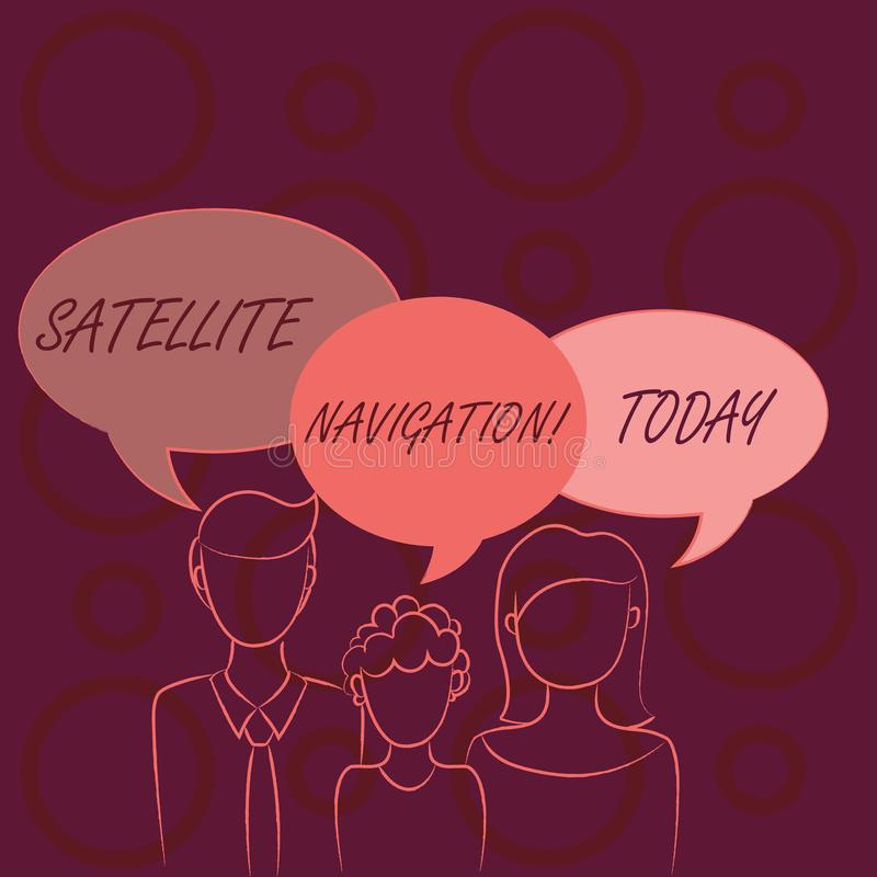 Word writing text Satellite Navigation. Business concept for system providing autonomous geospatial positioning Family. Word writing text Satellite Navigation vector illustration